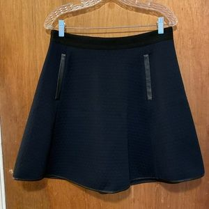 Madewell Navy skirt with leather detailing
